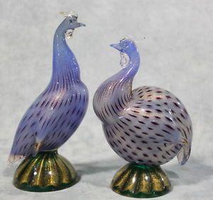 . 1955 Archimede Seguso Pair Guinea Fowls Murano glass