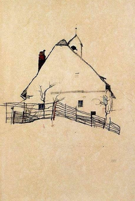 Egon Schiele, House with Bell Tower, 1912 on ArtStack #egon-schiele #art