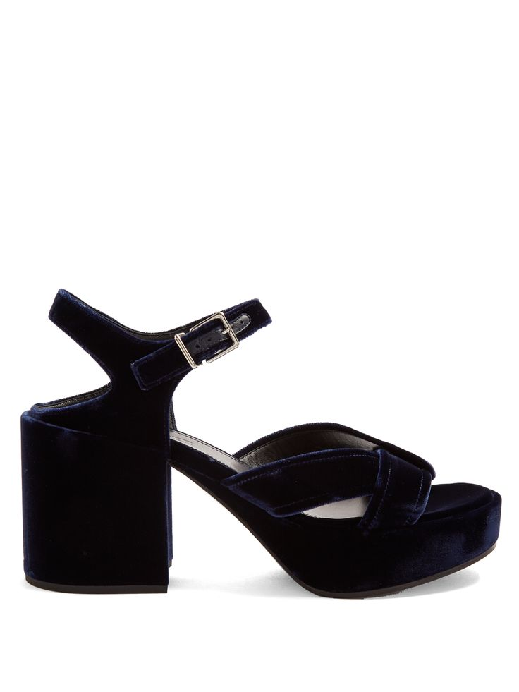 Click here to buy Jil Sander Chunky block-heel velvet sandals at MATCHESFASHION.COM