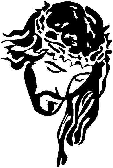 BLACK Vinyl Decal Jesus Head Crown Thorns Christian God