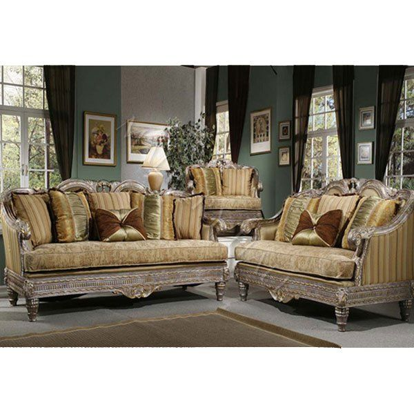 French Tapestry Upholstery Fabric Distressed Trim Gold Fabric Sofa Set 3