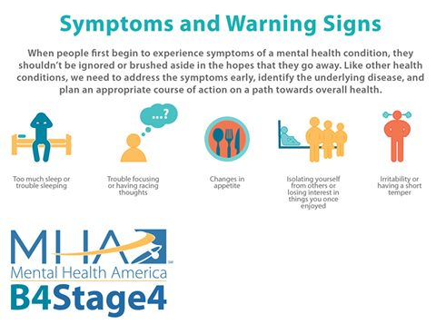 Learn the early warning signs. When you or someone close to you starts to experience the early warning signs of mental illness, knowing what these changes are will help to catch them early. Often times, parents, teachers and mentors are the first person to step in to support a person through these early changes. Learn the warning signs, take a screening:   #B4Stage4