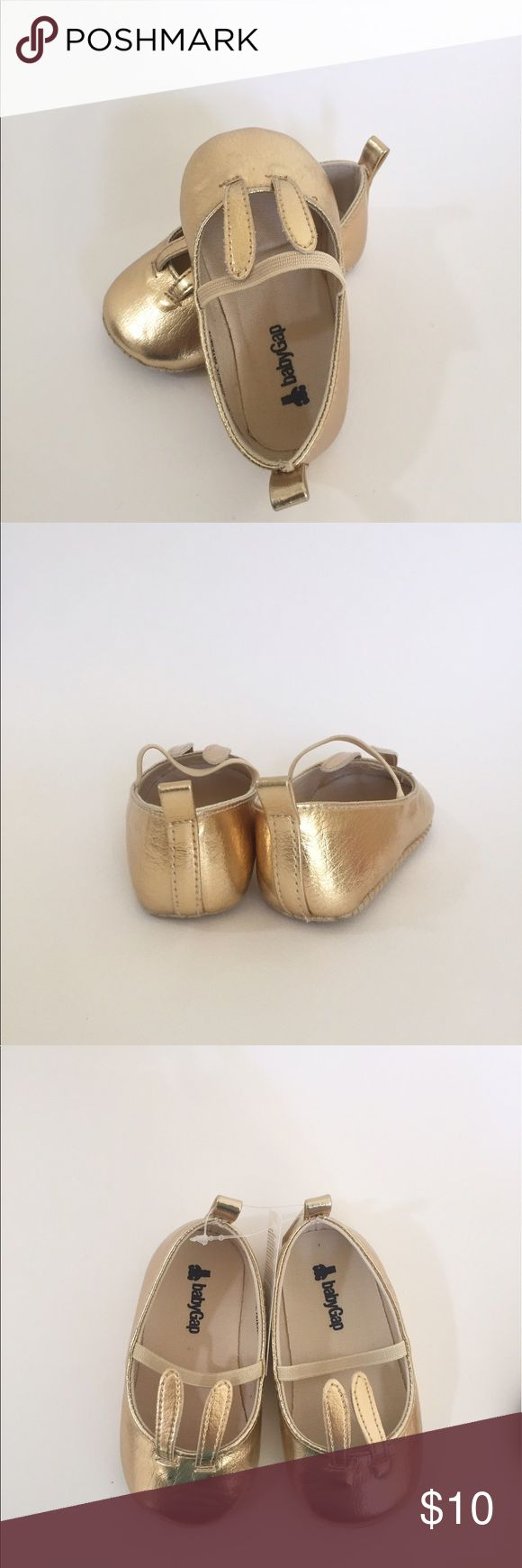 GAP Baby Girl Gold Ballet Flats (12/18mo) Brand New without Tags / Gold Ballet Flats with Bunny ears GAP Shoes