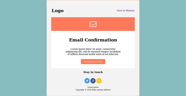 Email confirmation responsive mail template desing