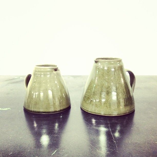 Thrown Stoneware Ash Glazed Jugs by Nicola Tassie for Margaret Howell. #thisisFABRIC #NicolaTassie #MargaretHowell #NiceJugs