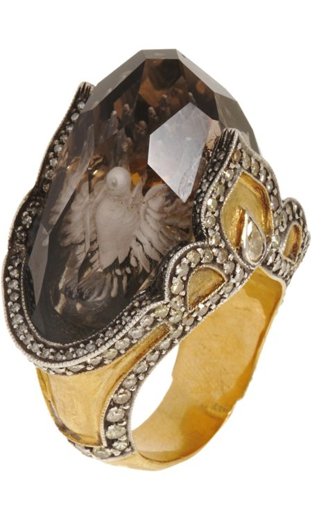 Sevan Bicakci Dove Carved Topaz Ring