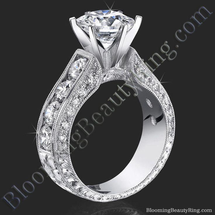 2.10 Carat Round Diamond Engraved Engagement Ring with Huge Quarter Carat Channel Set Diamonds