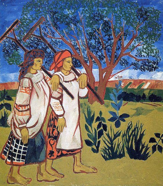 Natalia Goncharova. Peasant women with rakes. 1907.