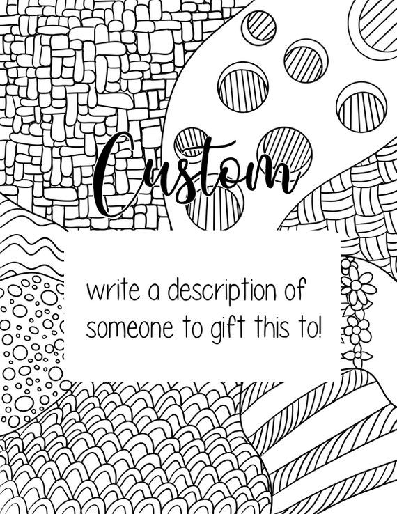 Custom coloring page | Customizable adult coloring page | My Esty ...