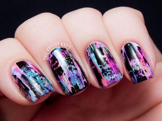 TUTORIAL: Distressed Nail Art (Punk/Grungy Effect)   Chalkboard Nails   Nail Art Blog