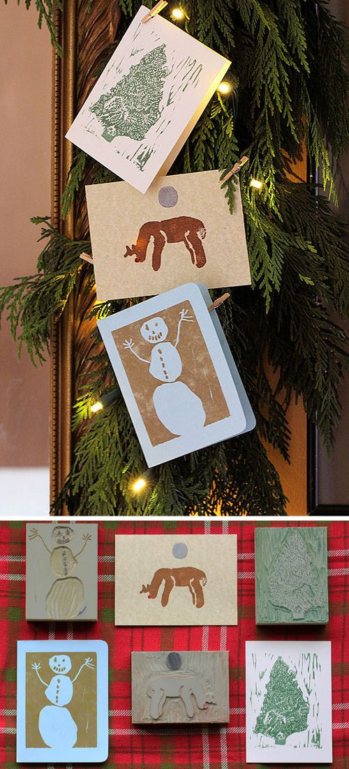 The Perfect Gift: Block Printed Cards: Blockprint, Camps Ideas, Gifts Kids, Blocks Prints Stationery, Perfect Gifts, Holidays Cards, Diy Blocks Prints Cards, Kids Blocks Prints, Diy Cards