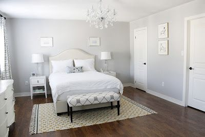 Ordered the Windsor Smith Pelagos fabric in Mist from the US for drapery; Painted the wall in ICI Dulux Silver Cloud; Re-upholstered an old bench in Laura Ashley Bowlin Driftwood Fabric from InVu Drapery; Added an Ikea Alvine Ruta Rug.