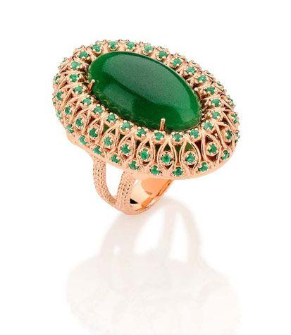 carla amorim rosé gold & emerald ring