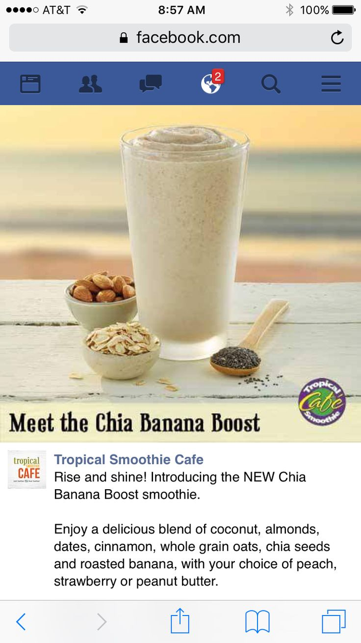 Chia banana boost smoothie with peaches, peanut butter, or strawberries