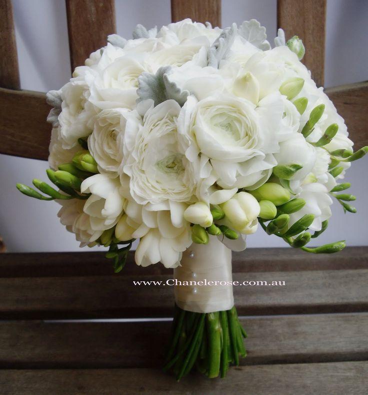 September Wedding Bouquets | White rannunculus bridal bouquet