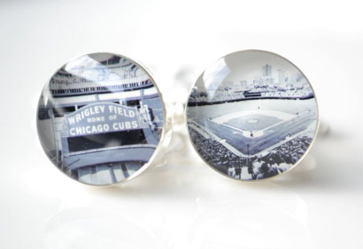Chicago cubs and Wrigley field photo cufflinks - This would be an AWESOME gift for you to give Dustin if he's wearing a French cuff shirt for the wedding.Groomsman Gift, Wrigley Fields, Gift Ideas, Chicago Cubs, Photos Cufflinks, Fields Photos, Cuffs Link, Fathers Husband, Cufflinks Men