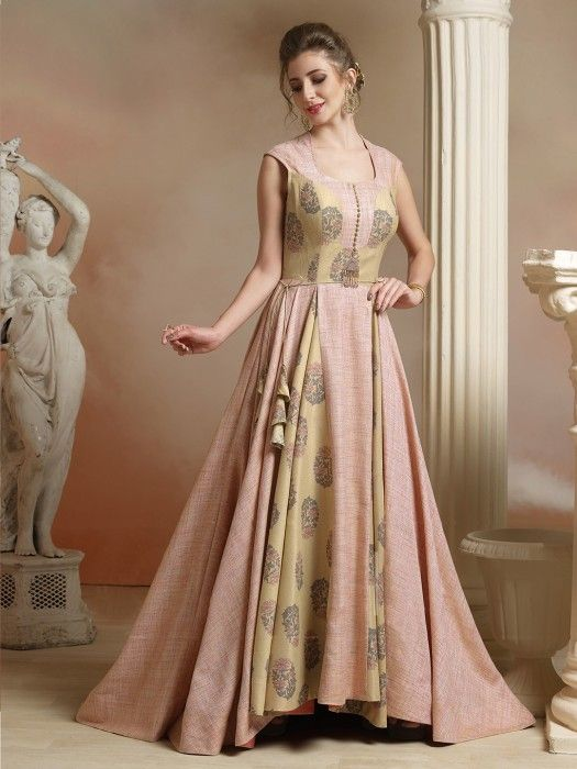 e53793bfd99 Light Pink Color Jute Fabric Gown