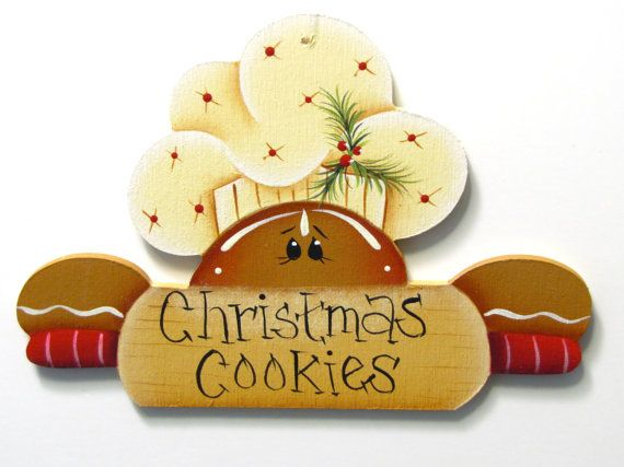 Gingerbread with Rolling Pin Ornament, Christmas Cookies, Handpainted Wood. $5,95, via Etsy.