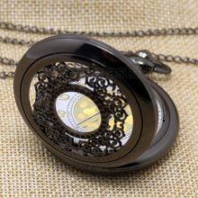 zwarte vintage sieraden steampunk antieke ketting zakhorloge P240(China (Mainland))