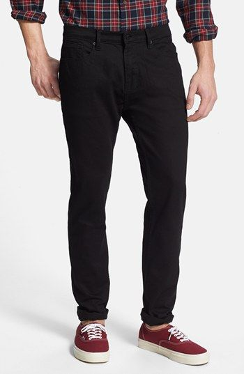 $50, Black Jeans: Topman Slim Fit Jeans. Sold by Nordstrom. Click for more info: https://lookastic.com/men/shop_items/138670/redirect