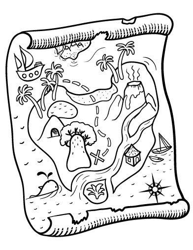 Printable treasure map coloring page. Free PDF download at