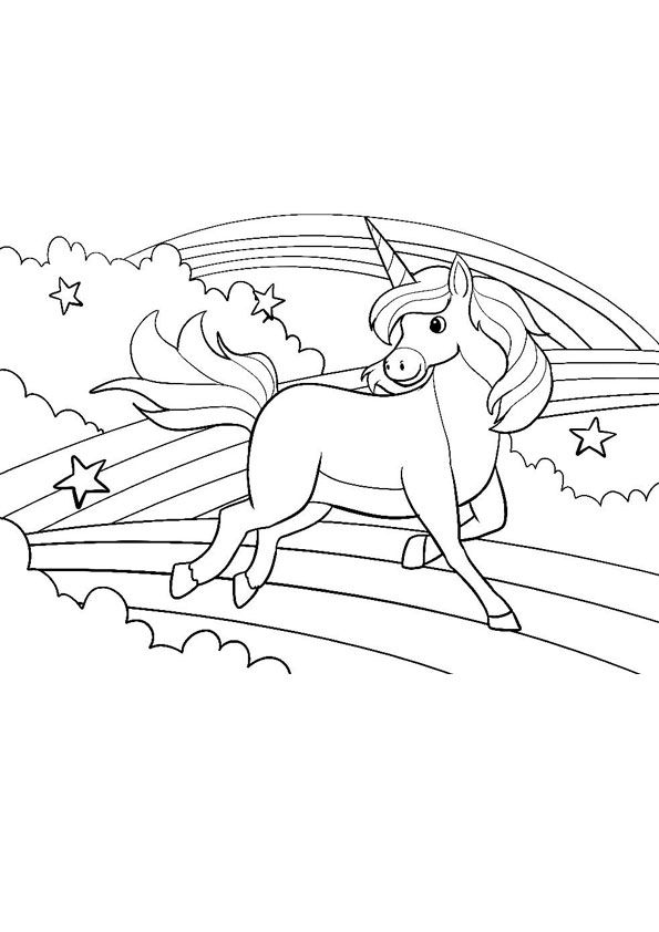Unicorn And Clouds Rainbows Coloring Page Unicorn Coloring Pages Coloring Pages Coloring Books