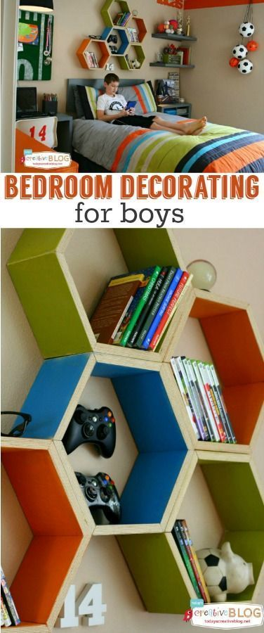 Cool Bedrooms for Teen Boys | octagon shelves!