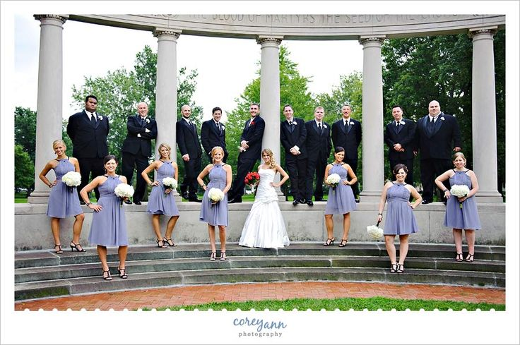 Grey and red wedding bridal party photo at Oberlin College 37 West College Street, Oberlin, OH 44074.