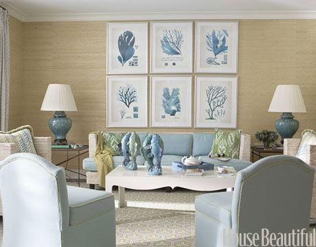 """Do Hang Artwork Together    Grouping framed pieces together makes a strong, lasting impression, like in the family room of this Palm Beach home by designer Meg Braff. """"By hanging six prints in a grid over the family room sofa, I got the impact of a much larger piece of art,"""" she says."""