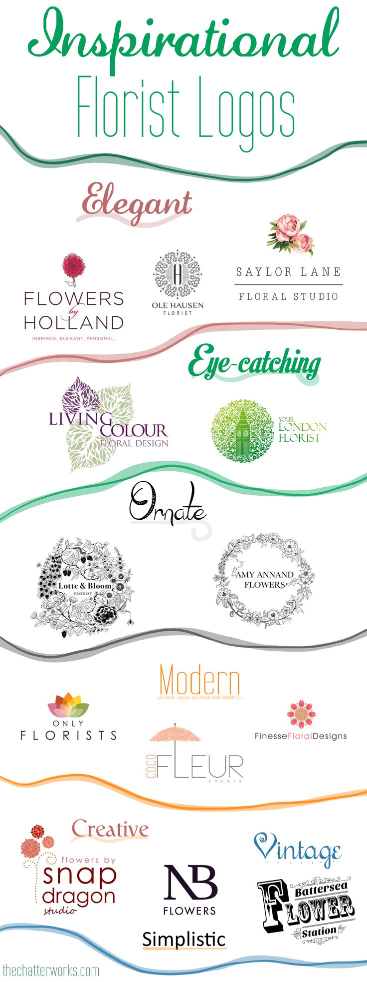 Amazing, Inspirational Florist Logos! | An infographic of elegant, eye-catching, ornate, modern, simplistic, creative and vintage florist logos from around the globe for your inspiration. #floristlogos #floristry #flowerbusiness