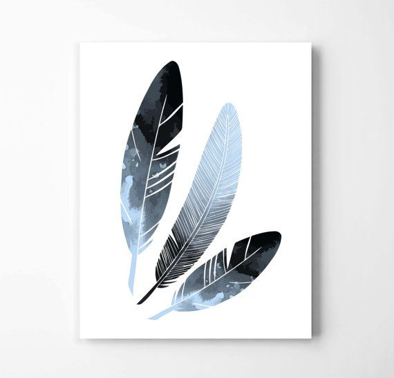 Watercolor feather art print nature inspired poster native american