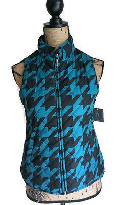 NWT Relativity Tealhounds Quilted Houndstooth Vest Size PETITE S Teal Turquoise