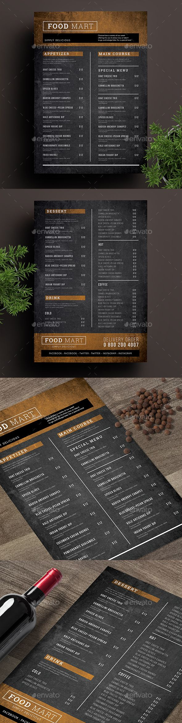 Simple Chalkboard Menu — Photoshop PSD #trifold #menu • Download ➝ https://graphicriver.net/item/simple-chalkboard-menu/19192804?ref=pxcr