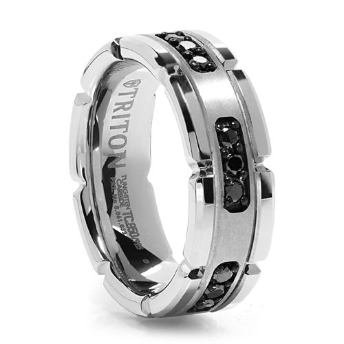 PANZER Men's White Tungsten Ring With Black Diamonds $539.00 - Shop Now at www.Titanium-Jewelry.com (or) call us at 1 (800) 370-2646