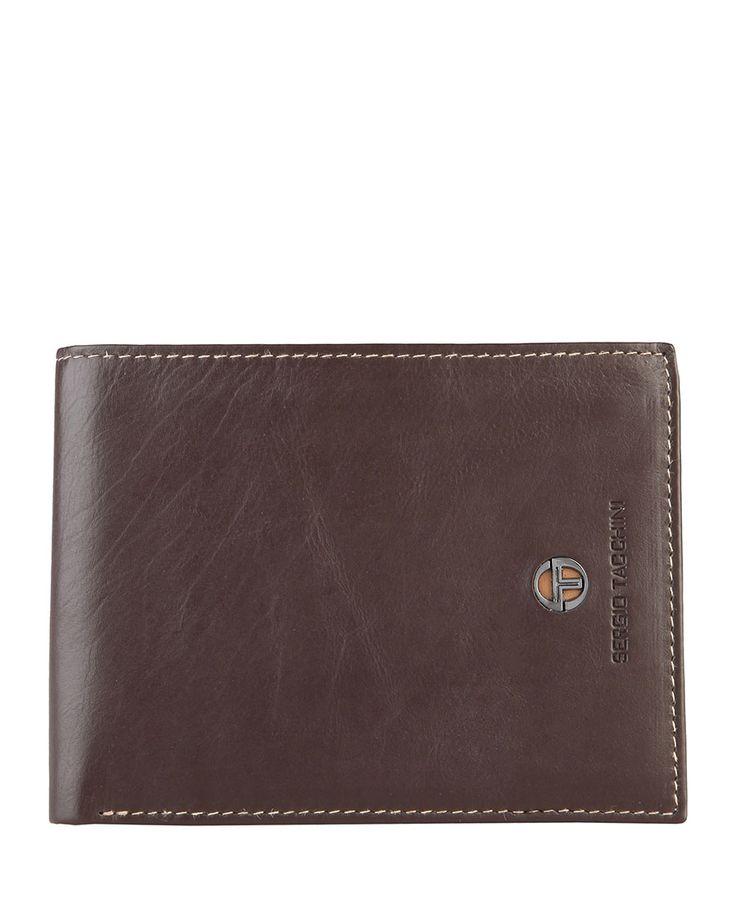 Sergio tacchini - portafoglio uomo - 100% pelle con logo - portamonete, due scomparti per banconote, porta carte di cred - Portafoglio uomo Marrone