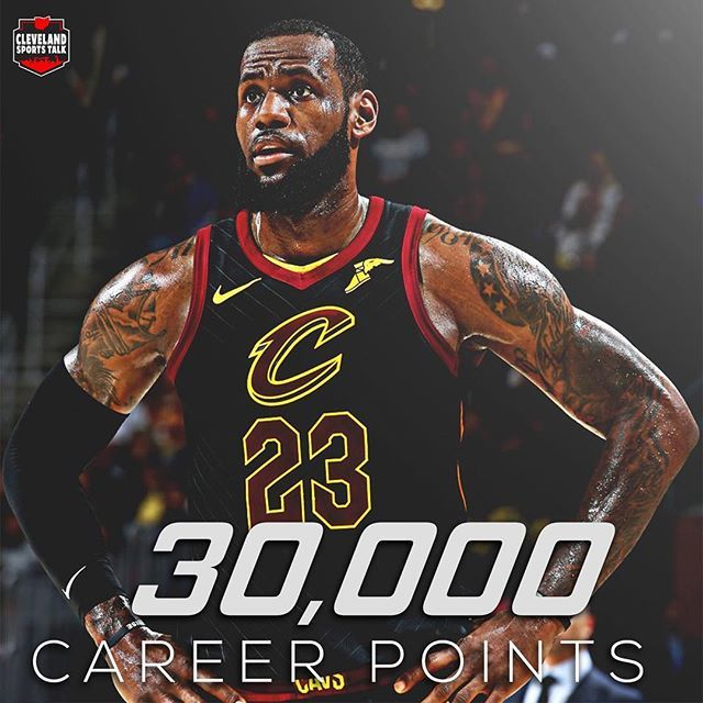 LeBron James becomes the 7th player in NBA History to score 30000 points. He is also the youngest player to do so. #repre23nt
