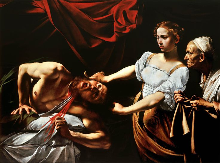 Judith Beheading Holofernes, by #Caravaggio. Created in 1599 by Italian #Baroque master Caravaggio, this painting depicts the story in the Book of Judith whereby Judith, to save her people, charms the Assyrian general Holofernes. On VintPrint.com as a #poster. #art #painting