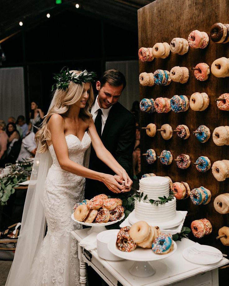 """29.6k Likes, 1,048 Comments - The Knot (@theknot) on Instagram: """"Yes, you can have cake AND doughnuts at your wedding—especially when they're displayed as…"""""""