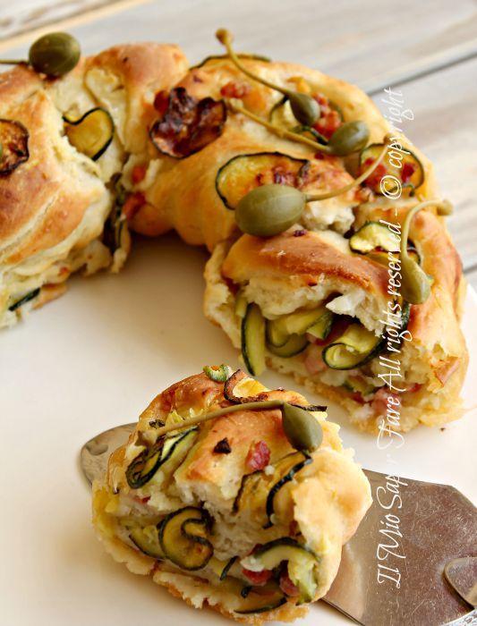 Rotolo pasta #pane farcito con #zucchine e #pancetta