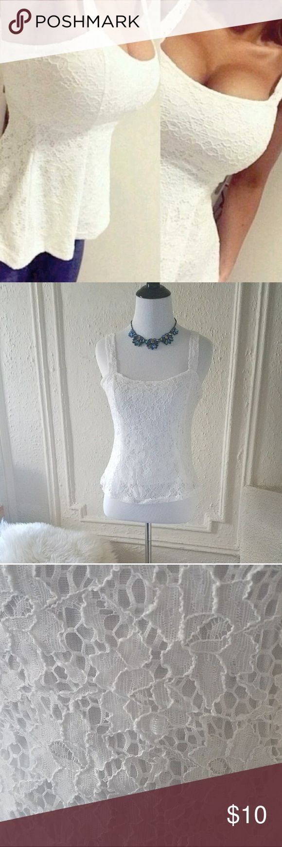 """White Lace Tank Top NWT White Lace Tank Top NWT  Small 15""""L x 30"""" Waist x 33"""" Bust  All measurements are applet approximate. Tops Tank Tops"""
