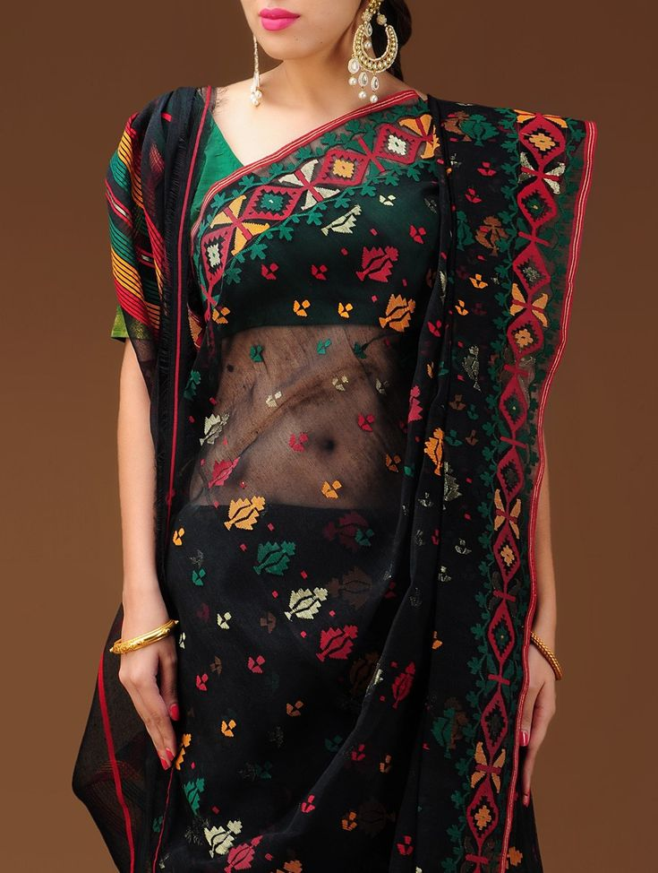 Black-GreenDhakai Jamdani Cotton Saree I LoVE DHAKAI.  These prices are insane. Luckily, my mother-in-law was East Bengali.She not only gave me Saris from Dacca, when she died,I was given her collection of mostly white, with blue and green  Dhakai.