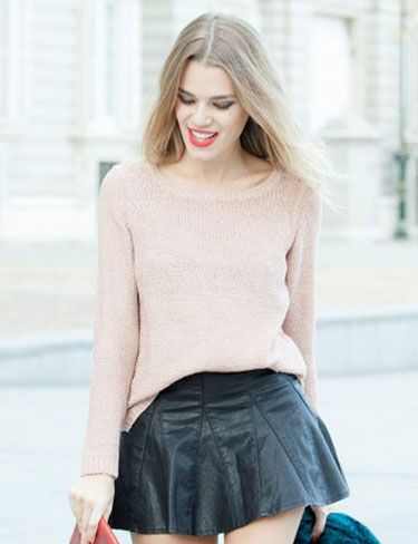 Honeydressing, look Jersey de punto rosa
