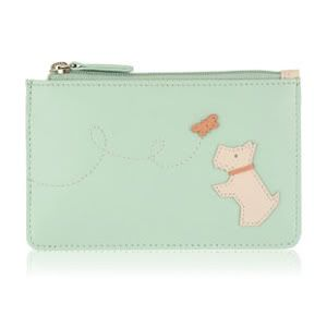 Radley purse in pastel green leather with a Westie and Butterfly.