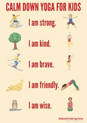 This calm down Yoga chart for kids can be useful to practice in session and have kids take in home to use in times of stress to calm down. This is also useful because it lists positive mediation phrase for the client to say while doing the yoga pose.