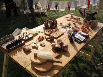 A selection of Medieval toys and games