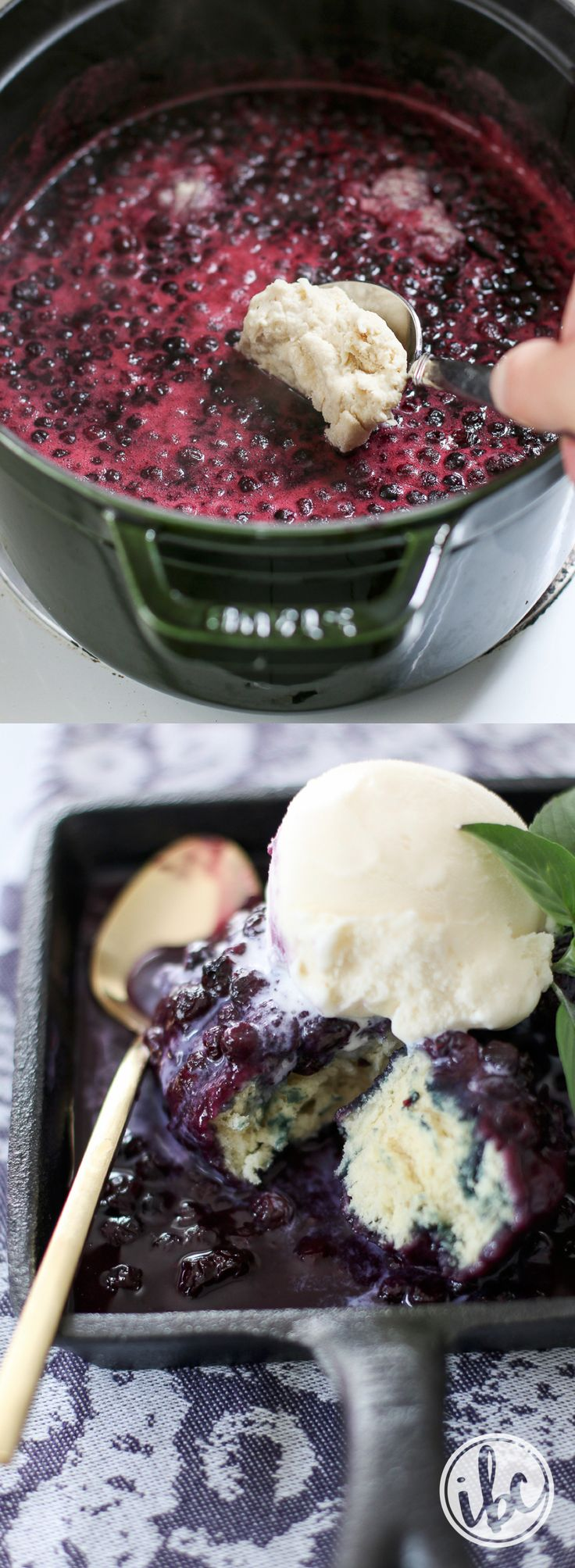 Wild Blueberry Grunt recipe - Similar to a cobbler, but wonderfully different. Sweet dumplings are steamed in wild blueberries for a truly unique and flavorful dessert! Top with ice cream for the perfect summer treat.