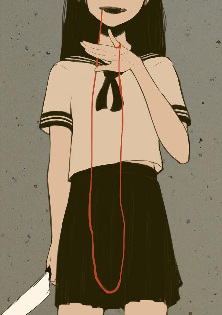 Yandere Girl Dark Bloody Crazy Pain Gore Guro