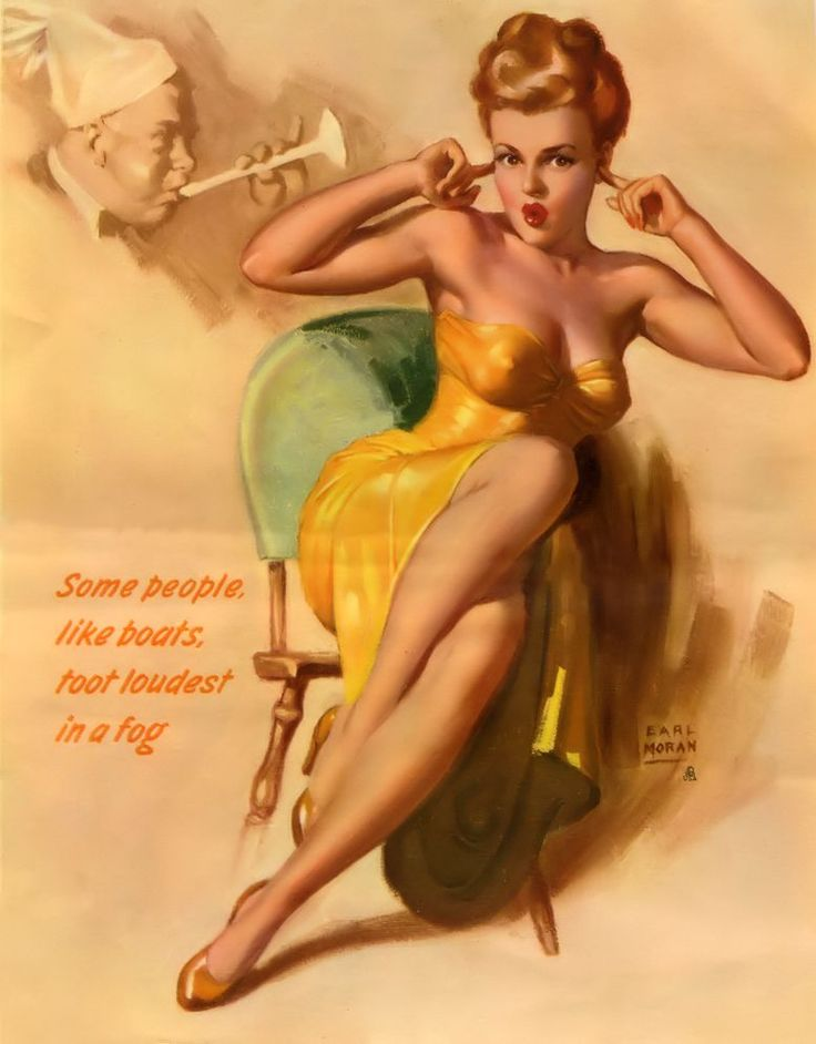 "Earl Moran - one of his many calendars featuring Marilyn Monroe. This illustration from January 1953. ""Some people, like boats, too loudest in a fog."""
