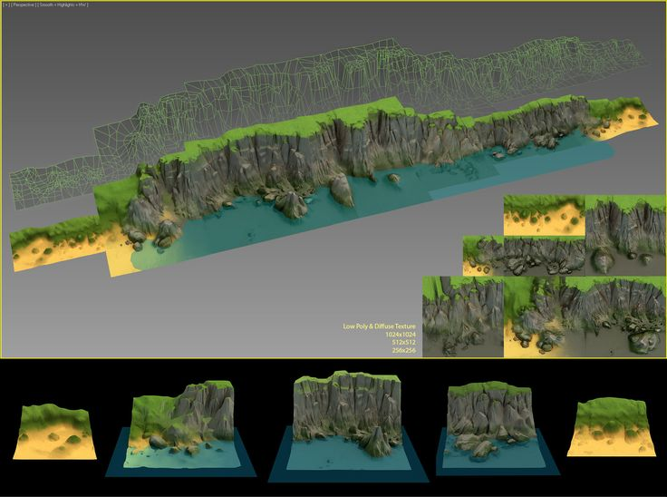 Tileable seashore cliffs for a mobile game. World Machine + ZBrush + Ground Wiz + VRay