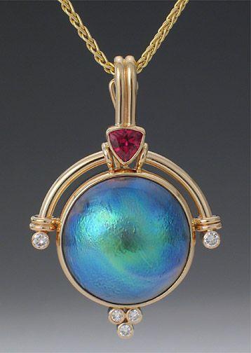 Abalone pearl pendant with pink tourmaline and diamonds